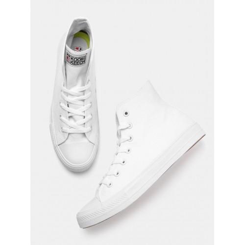 Kook N Keech Unisex White Solid High-Top Sneakers