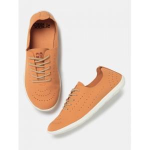 Kook N Keech Orange Perforated Regular Sneakers