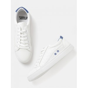 Kook N Keech Women Off-White Perforated Sneakers