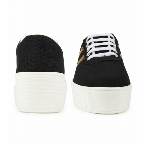 Zapatoz Black Synthetic Lace Up Sneakers