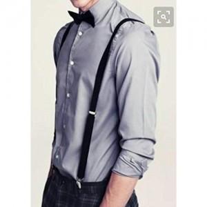 Skytouch Black Bow Tie & Suspender