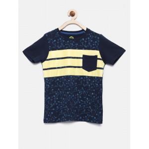 YK Boys Navy Blue Printed T-shirt
