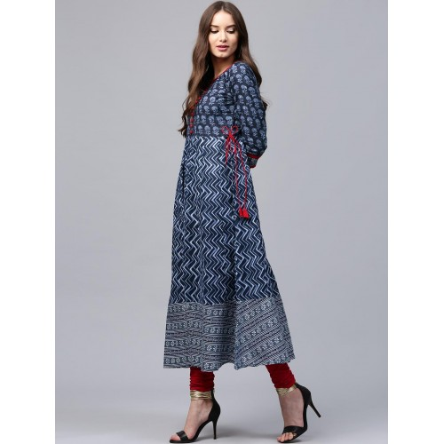 Libas Women Navy Blue Cotton Printed Anarkali Kurta