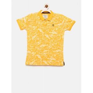 Pepe Jeans Boys Orange Printed Polo T-shirt