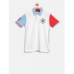 Pepe Jeans Boys Off-White Solid Polo Collar T-shirt