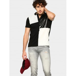 abof Black & White Colorblock Slim Fit Polo T-shirt