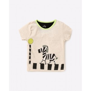 AJIO Zebra Print Crew-Neck T-shirt