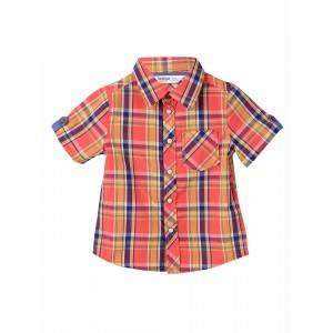 Beebay Boys Orange & Blue Checked Comfort Fit Shirt