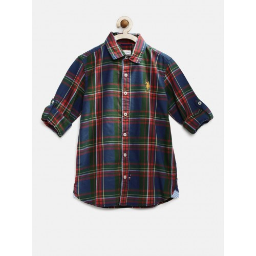 10814f167f9 Buy U.S. Polo Assn. Kids Boys Navy   Red Checked Casual Shirt online ...