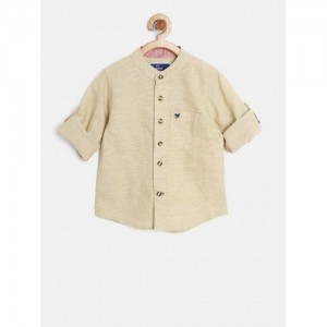 612 league Beige Cotton Solid Shirt
