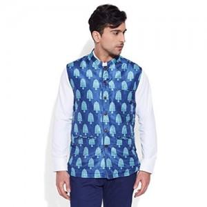 Very Me Blue Digitally Printed Nehru Jacket