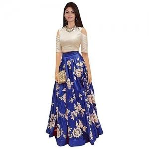 Jay Ambe Fashion Blue & White Cotton Lehenga Choli