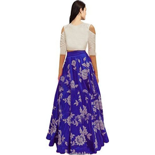Jay Ambe Fashion Blue & White Cotton Lehenga Choli