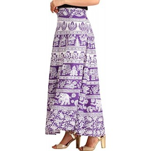 e2ee22522 Exotic India Exotic India White and Purple Wrap-Around Long Skirt from  Pilkhuwa with -