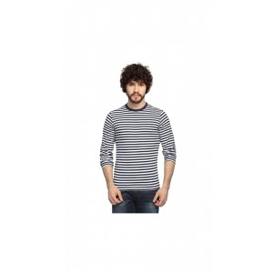 Stylogue White & Blue Striped T-shirt For Men by STYLOGUE