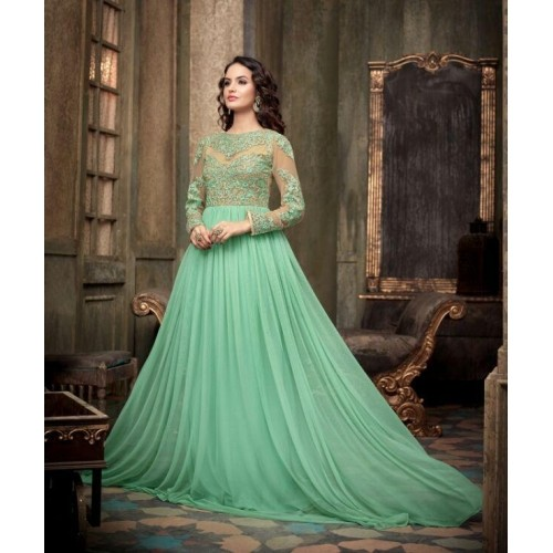 Embroiedery Green Floor Length Designer Gown