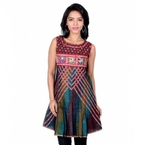 18 Fire Multicolour Net Kurti