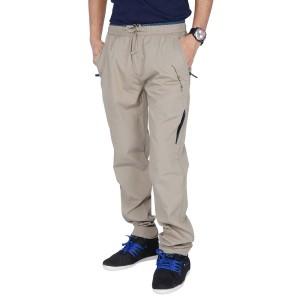 JT international beige cotton full length track pant
