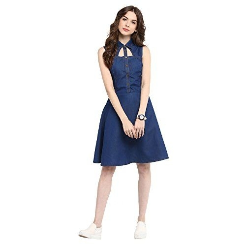StyleStone (3192DarkWndwM)-Women's Dark Blue Denim Dress with Neck Cutout