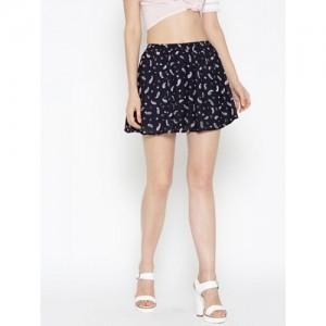 Sera Navy Blue Printed Skater Skirt