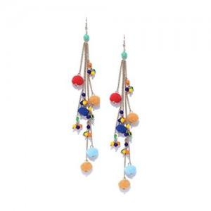 Blueberry Blueberry Multicoloured Pom-Pom Drop Earrings