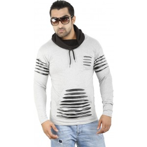 Perfect Creations Solid Men's Hooded Grey T-Shirt