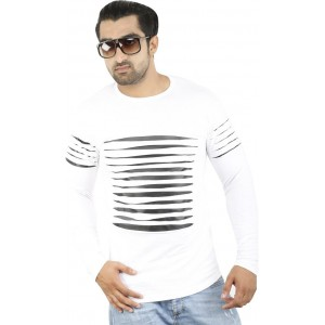 Perfect Creations Striped Men's Round Neck White T-Shirt