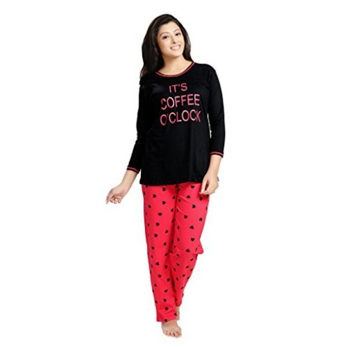 SWEETNIGHT Sweet Night Women Night Suit, Night dress, Lounge wear - Printed - Full Sleeve - Pure Cotton - Top & Pyjama set