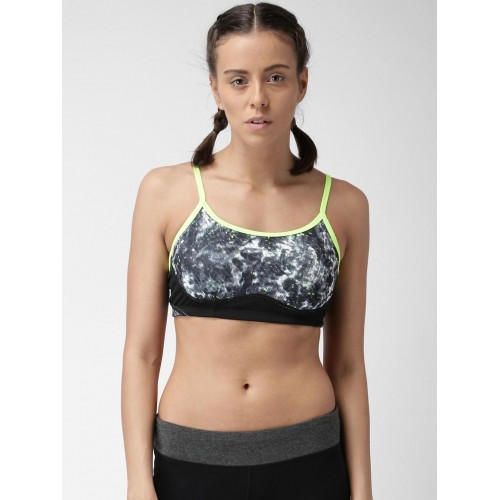 7a795b00f65a6 ... New Balance Black Printed Non-Wired Lightly Padded Sports Bra WBT7106  ...