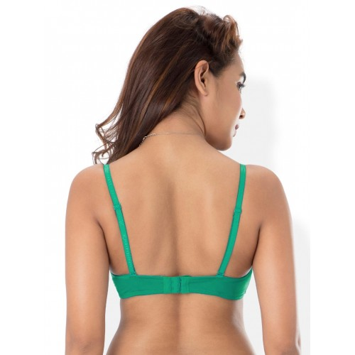 PrettySecrets Green Solid Non-Wired Lightly Padded T-shirt Bra B0017