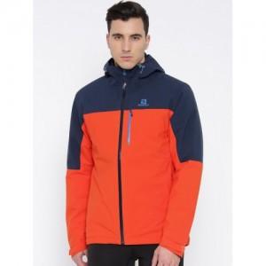 Salomon Orange & Navy Nebula Insulated Hooded Rain Jacket