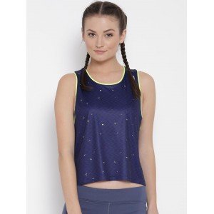 Reebok Navy Blue Polyester Printed Running Tank Top