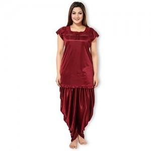 AV2 AV2 Women Satin Top & Pyjama Nightdress Set