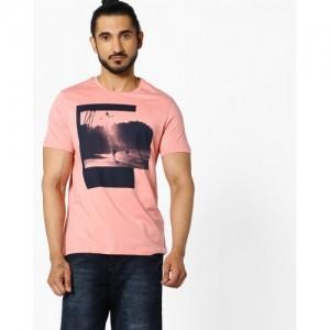Ajio Peach Cotton Printed Crew-Neck T-shirt