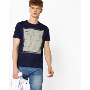 Ajio Navy Blue Cotton Printed Crew-Neck T-shirt