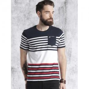 Roadster Navy Blue & White Cotton Striped Round Neck T-shirt