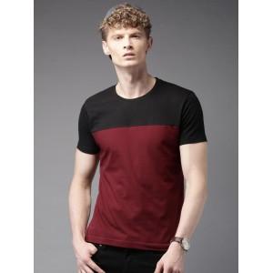 HERE&NOW Maroon & Black Colourblocked Round Neck T-Shirt