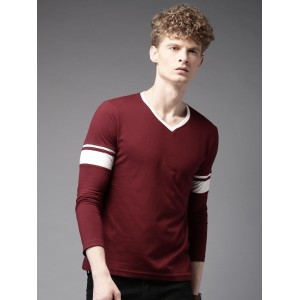 HERE&NOW Maroon Cotton Solid V-Neck T-Shirt