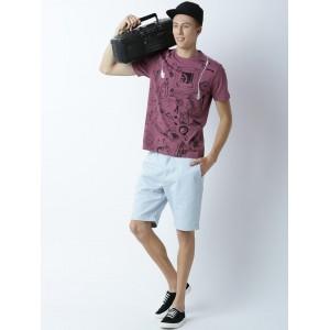 Huetrap Mauve Cotton Printed Round Neck T-shirt