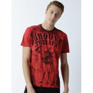 Huetrap Red & Black Printed Round Neck T-shirt