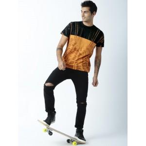 Huetrap Orange & Black Cotton Printed Round Neck T-shirt