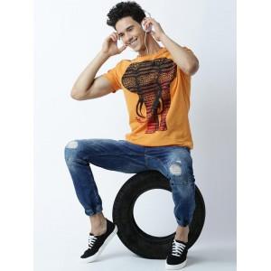 Huetrap Orange Cotton Printed Round Neck T-shirt