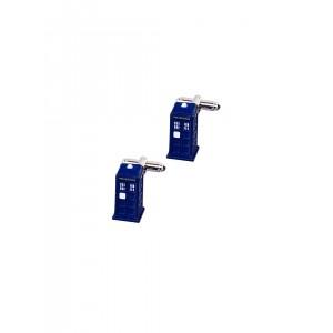 Tossido Blue Phone Booth-Shaped Cufflinks