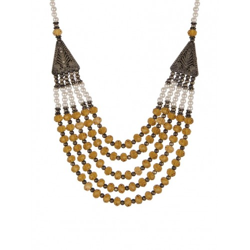 Diva Walk Ochre yellow beads embellished layered necklace