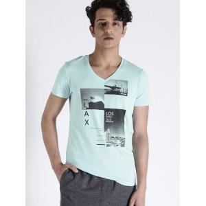 s.Oliver Men Blue Printed V-Neck T-shirt