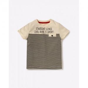 AJIO Beige Cotton Striped Printed T-Shirt