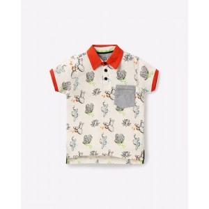 AJIO Printed Polo T-shirt