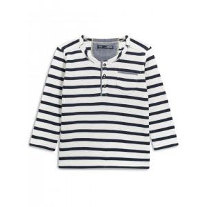 next Boys Navy & White Striped Henley Neck T-shirt