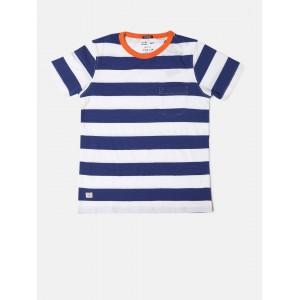 Indian Terrain Boys White & Navy Striped Round Neck T-shirt
