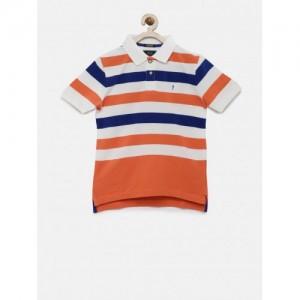 Indian Terrain White & Orange Striped Polo T-shirt